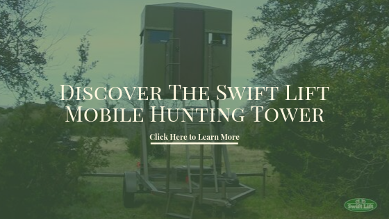 Swift Lift call to action button to learn more about the mobile hunting blind.